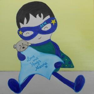 Superhero toy cuddling teddy