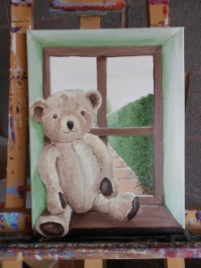 teddy childhood toy oil painting window