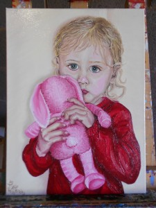 portrait, painting, original, oil, canvas, child gift, bunny, toy
