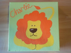 Ella art, jungle, lion, personalised, baby, toddler, name, canvas, art, gift