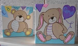 Ella art, toy, teddy, bunny, newborn, twins, gift, original, bespoke, personalised, name , art, canvas