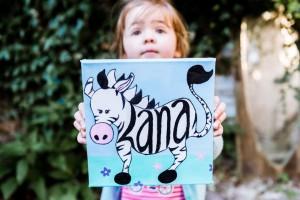 Ella art, zebra, personalised, name, child, painting, canvas, art