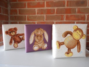 Toys, sparkle, sparkly, monkey, bunny, teddy, Ella Hendy, Ella art, original, art, canvas, painting, nursery, gift