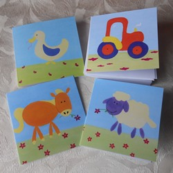 Ella art, cards, farm, farmyard animals, tractor, goose, horse, sheep, art, Ella Hendy