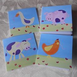 Ella art, cards, farm, farmyard animals, goose, pig, cow, hen, art, Ella Hendy