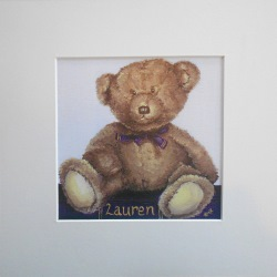 Ella Hendy, Ella art, Banbury, artist, teddy, bear, personalised, name, print