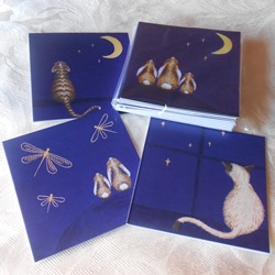 Ella art, cards, Stars, dragonfly, cat, teddy, bunnies, Ella Hendy