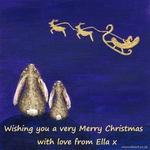 Ella Hendy, Ella art, Santa, Sleigh, Reindeer, Bunnies, Merry Christmas