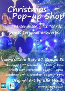 Ella Hendy, Ella art, Banbury, artist, Oxfordshire, Christmas, Artweeks, Naomi's Cafe Bar
