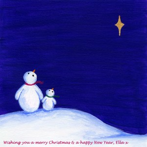 Ella Hendy, Ell art, Banbury, artist, Oxfordshire, Christmas, snowmen, greetings, card